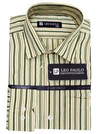 Leo Paulo YELLOW Mens Striped Long Sleeve Angled Cuff Shirt - Size Medium to XXL
