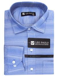 Leo Paulo BLUE Mens Cotton Blend Printed Long Sleeve Shirt - Size Medium to XXL