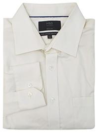 M&5 CREAM Pure Cotton Non-Iron Regular Fit Shirt - Collar Size 14.5 to 18.5