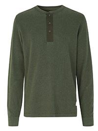 Cottonfield OLIVE Zergion Crew-Neck Half-Button Top - Size L to XXL