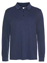 Bugatti NAVY Mens Cotton Blend Long Sleeve Polo Shirt - Size M to 3XL