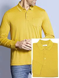 Bugatti MUSTARD Mens Cotton Blend Long Sleeve Polo Shirt - Size M to 4XL