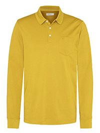 Bugatti MUSTARD Mens Cotton Blend Long Sleeve Polo Shirt - Size L to 3XL