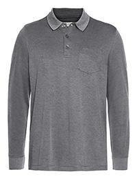 Bugatti GREY Mens Cotton Blend Long Sleeve Polo Shirt - Size M to 4XL