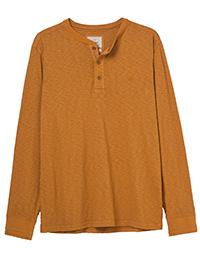WH1TE STUFF BURNT-ORANGE Mens Pure Cotton Penland Henley Top - Size S to XXL