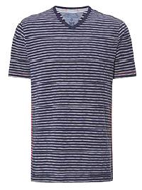 WH1TE STUFF NAVY Mens Pure Cotton Voyage V-Neck Stripe Tee - Size S to XXL