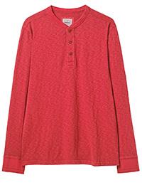 WH1TE STUFF RASPBERRY Mens Pure Cotton Penland Henley Top - Size XS to XXXL