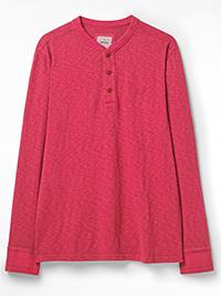 WH1TE STUFF CLARET Mens Pure Cotton Penland Henley Top - Size XS to XXXL