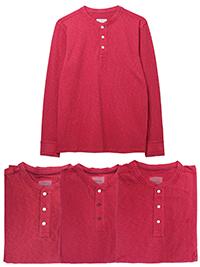 WH1TE STUFF CLARET Mens Pure Cotton Penland Henley Top - Size M to L