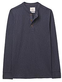 WH1TE STUFF NAVY Mens Pure Cotton Penland Slub Henley Top - Size S to XXL