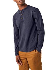 WH1TE STUFF NAVY Mens Pure Cotton Penland Slub Henley Top - Size XS to XL