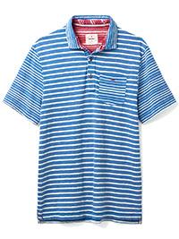 WH1TE STUFF BLUE Mens Pure Cotton Striped Polo - Size XS to L