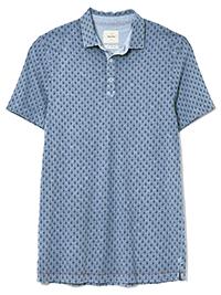 WH1TE STUFF BLUE Mens Pure Cotton Turnip Print Polo - Size XS to M