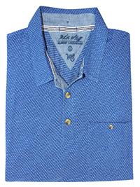 WH1TE STUFF BLUE Mens Pure Cotton Printed Polo - Size L