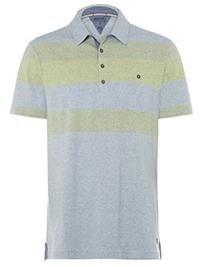 WH1TE STUFF BLUE/GREEN Mens Pure Cotton Striped Innertube Polo Shirt - Size M