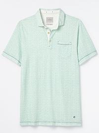WH1TE STUFF MINT Mens Pure Cotton Printed Polo Shirt - Size M