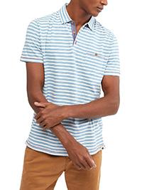 WH1TE STUFF BLUE Mens Pure Cotton Striped Polo Shirt - Size S to XL