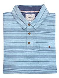 WH1TE STUFF BLUE Mens Pure Cotton Striped Polo Shirt - Size S to L