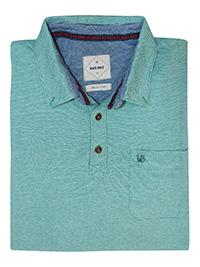 WH1TE STUFF SEA-GREEN Mens Pure Cotton Chest Logo Striped Polo - Size L to XL