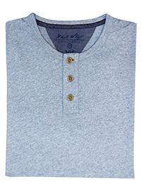 WH1TE STUFF BLUE Mens Pure Cotton Penland Henley Short Sleeve Top - Size M