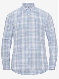Big&Tall Mens ELLOS BLUE Linen Blend Checked Shirt - Plus Size 4XL to 6XL