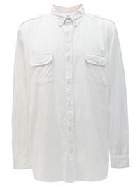 Big&Tall Mens Jacamo WHITE PINK Pure Cotton Military Shirt - Plus Size XL to 5XL
