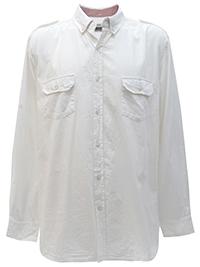 Big&Tall Mens Jacamo WHITE/PINK Pure Cotton Military Shirt - Plus Size XL to 4XL
