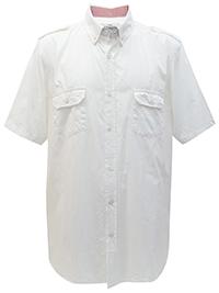 Big&Tall Mens Jacamo WHITE/BLUSH Pure Cotton Short Sleeve Military Shirt - Plus Size XL to 5XL