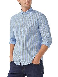 Big&Tall Mens Ellos BLUE Pure Cotton Woven Striped Shirt - Plus Size 2XL to 6XL