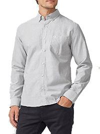 Big&Tall Mens Ellos GREY  Pure Cotton Button Collar Oxford Shirt - Plus Size 2XL to 6XL
