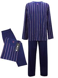 Cito BLUE Mens Pure Cotton Striped Pyjama Set - Size M to XL
