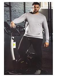 Active Touch GREY/BLACK Mens Cotton Rich Kangaroo Pocket Sweatshirt & Joggers Set - Plus Size 2XL to 5XL