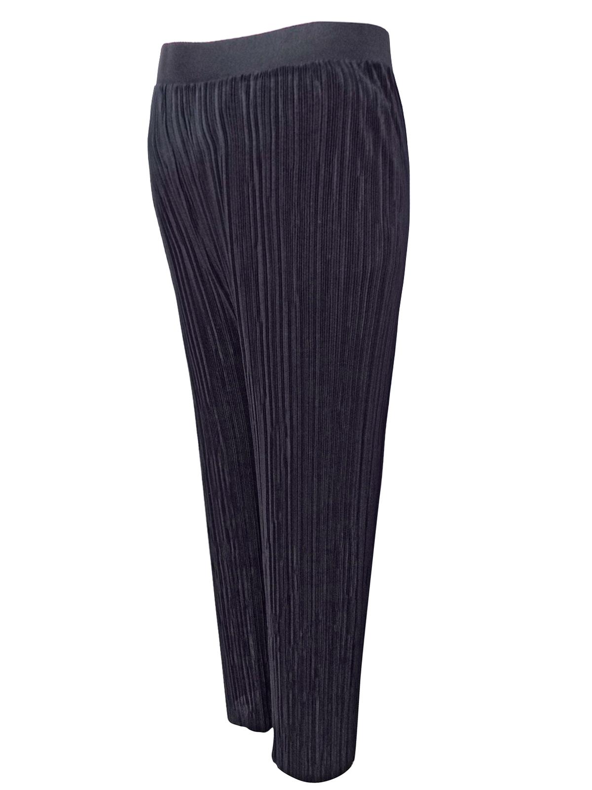 e5a6dbd2cf140 BOOHOO - - B00H00 BLACK Wide Leg Plisse Maternity Trousers - Size 8 to 16