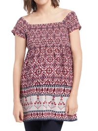 Motherhood Maternity RED Tile Print Bardot Tunic Top - Size 6/8 to 14/16 (Small to Large)