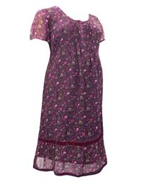Tallissime DARK-PLUM Ditsy Floral Velvet TrimMaternityDress - Plus Size 14 to 34