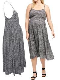 Motherhood BLACK Chevron Stripe Strappy Midi Maternity Dress - Size XLarge