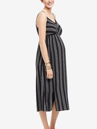 Motherhood BLACK Striped JerseyMaternity Midi Dress - Size 6/8 to 18/20 (Small to XLarge)