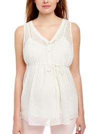 Motherhood WHITE Sleeveless Dobby Spotted Chiffon Maternity Blouse - Size 8 to 18/20 (XSmall to XL)