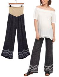 Motherhood BLACK Border Print Over Bump Maternity Trousers - Plus Size 18/20 to 24 (XL to 3X)