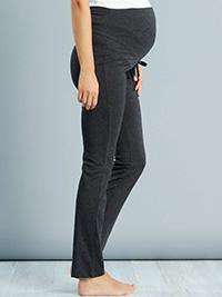 DARK-GREY Drawstring Waist Over Bump Maternity Trousers - 6/8 to 22/24 (EU 34/36 to 50/52)