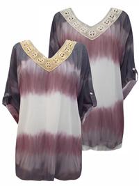 Tesini ASSORTED Tie Dye Roll Sleeve Batik Tunic - Size 10 to 26