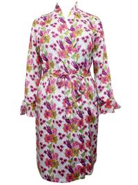 WHITE Satin Floral Print Dressing Gown - Size 18/20 to 26/28 (EU 44/46 to 52/54)