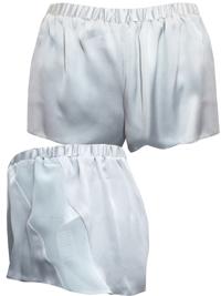 AS0S SILVER Chiffon Panelled Satin Pyjama Shorts - Size XSmall to Large