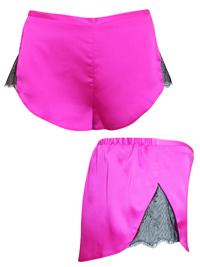AS0S FUCHSIA Lace Panelled Satin Pyjama Shorts - Size 4 to 18