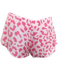 AS0S PINK Leoard Print Satin Pyjama Shorts - Size 6 to 8