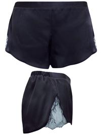 AS0S BLACK Lace Panelled Satin Pyjama Shorts - Size 4 to 18