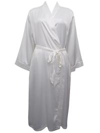 Peter New York CREAM Contrast Lace Trim Satin Wrap Dressing Gown - Size L/XL