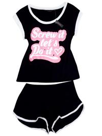 Ann Summ3rs BLACK Contrast Trim Slogan Shorts Pyjama Set - Size 4/6 to 24/26