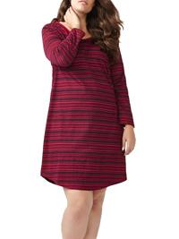 Ti Voglio RIO-RED Pure Cotton Long Sleeve Striped Nightdress - Plus Size 16/18 to 36 (US X to 6X)