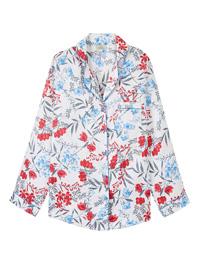 Pretty Secrets WHITE Satin Floral Pyjama Top - Plus Size 24/26